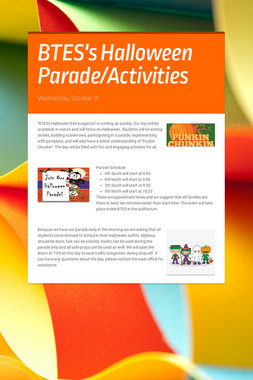 BTES's  Halloween Parade/Activities