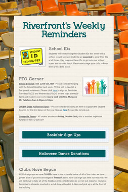 Riverfront's Weekly Reminders