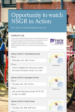 Opportunity to watch NSGR in Action