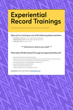 Experiential Record Trainings
