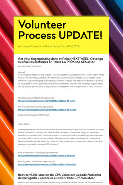 Volunteer Process UPDATE!