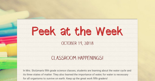 Peek at the Week | Smore Newsletters for Education