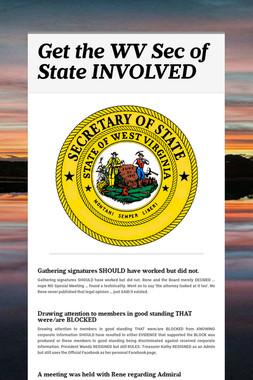 Get the WV Sec of State INVOLVED