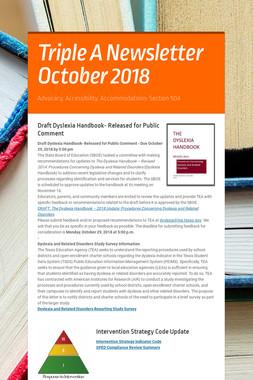 Triple A Newsletter October 2018
