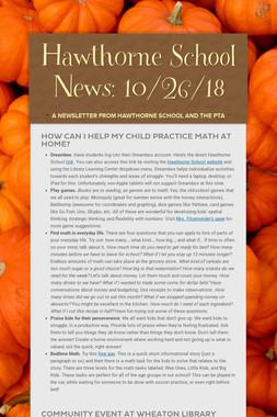 Hawthorne School News: 10/26/18
