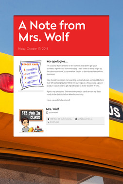 A Note from Mrs. Wolf