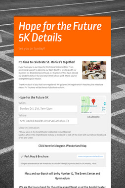 Hope for the Future 5K Details
