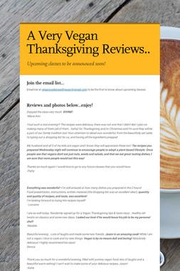 A Very Vegan Thanksgiving Reviews..