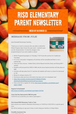 RISD Elementary Parent Newsletter