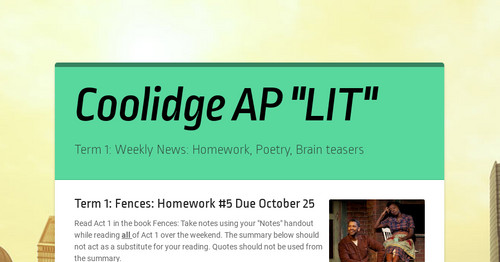 Coolidge AP LIT Smore Newsletters For Education
