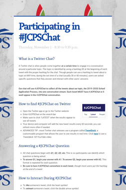 Participating in #JCPSChat