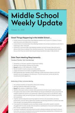 Middle School Weekly Update