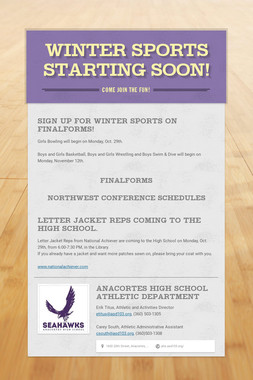 Winter Sports starting soon!