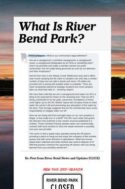 What Is River Bend Park?