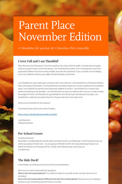 Parent Place November Edition