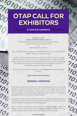 OTAP CALL FOR EXHIBITORS