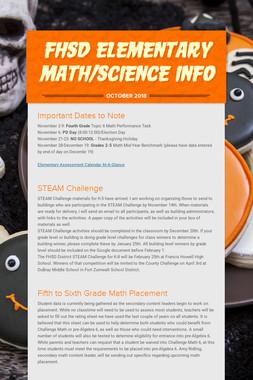 FHSD Elementary Math/Science Info