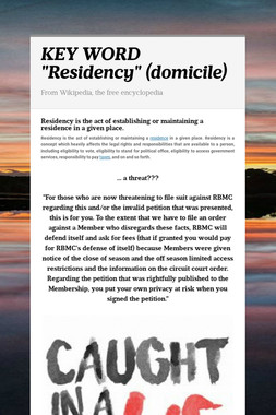 "KEY WORD ""Residency"" (domicile)"