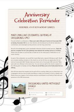 Anniversary Celebration Reminder