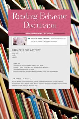 Reading Behavior Discussion