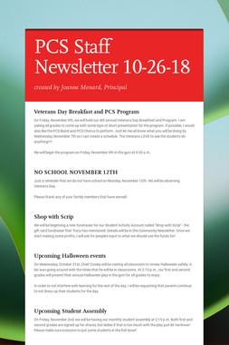 PCS Staff Newsletter 10-26-18