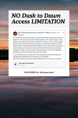 NO Dusk to Dawn Access LIMITATION