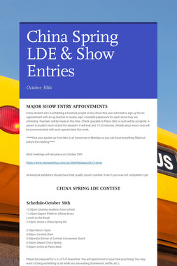 China Spring LDE & Show Entries