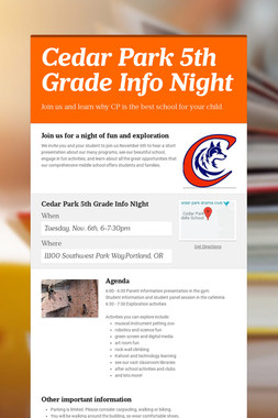 Cedar Park 5th Grade Info Night