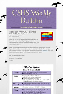 CSHS Weekly Bulletin
