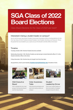 SGA Class of 2022 Board Elections