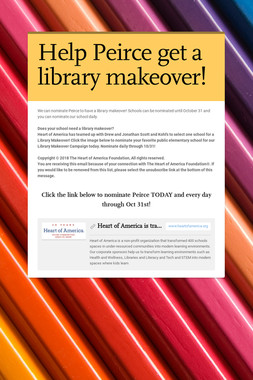 Help Peirce get a library makeover!