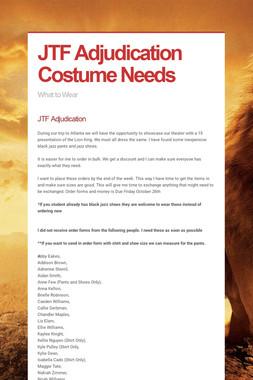 JTF Adjudication Costume Needs