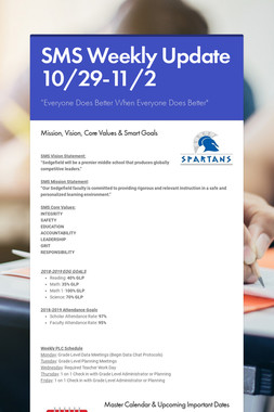 SMS Weekly Update 10/29-11/2