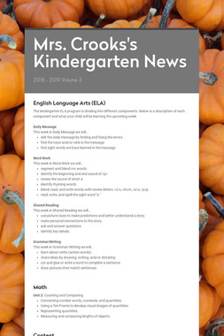 Mrs. Crooks's Kindergarten News
