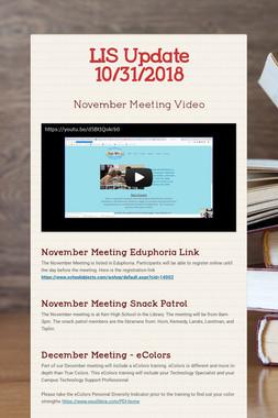LIS Update 10/31/2018