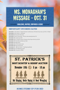 Ms. Monaghan's Message - Oct. 31