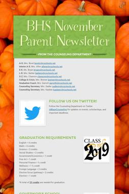BHS November Parent Newsletter