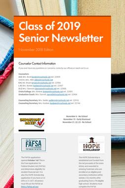 Class of 2019 Senior Newsletter