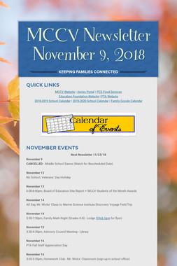 MCCV Newsletter November 9, 2018