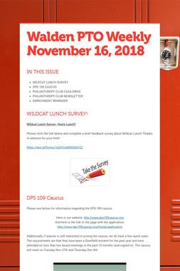 Walden PTO Weekly November 16, 2018