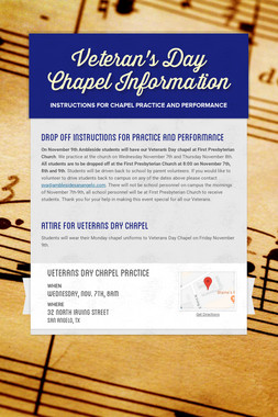 Veteran's Day Chapel Information