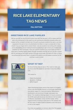 Rice Lake Elementary TAG News