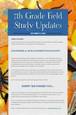 7th Grade Field Study Updates
