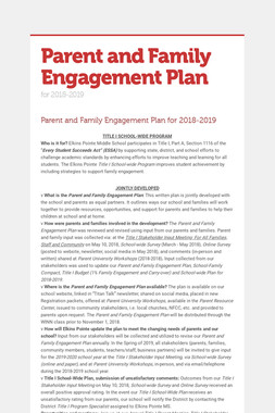 Parent and Family Engagement Plan