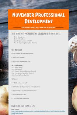 November Professional Development