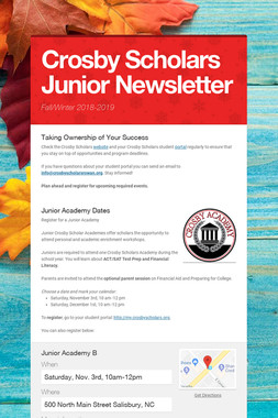 Crosby Scholars Junior Newsletter
