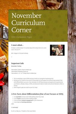 November Curriculum Corner