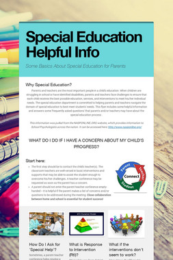 Special Education Helpful Info