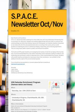 S.P.A.C.E. Newsletter Oct/Nov