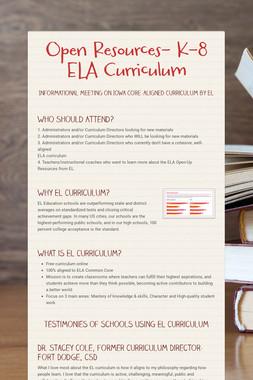 Open Resources- K-8 ELA Curriculum